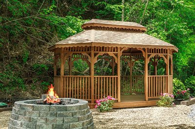 Outdoor fireplace and gazebo