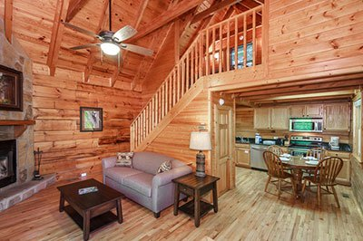 Cabin rental living room