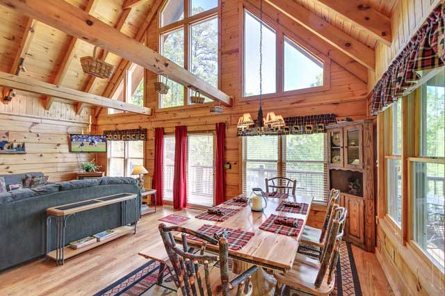 log cabin living room and dining area